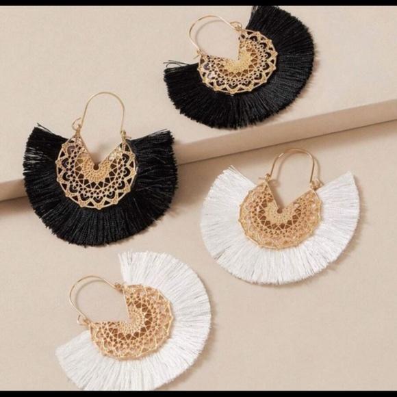 Jewelry - Boho Chic Tassel fringe fan earrings set